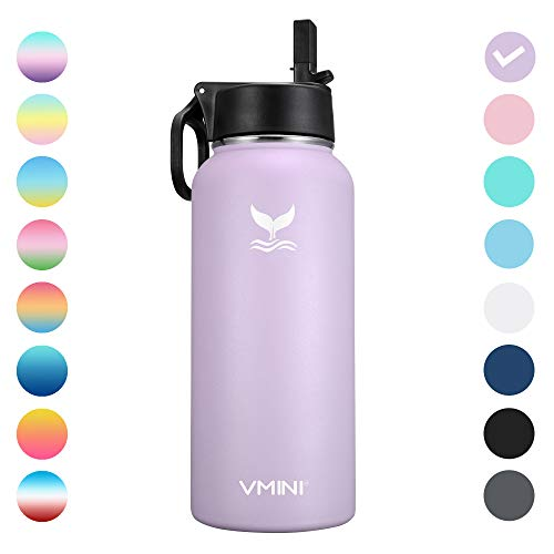 Vmini Water Bottle - Wide Mouth, 18/8 Stainless Steel, Double Wall Vacuum Insulated, New Straw Lid with Wide Handle (Purple, 32 oz)
