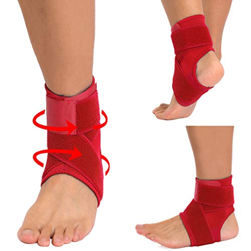 Hopgo Ankle Brace for Women Men, Foot Sleeve Ankle Support Adjustable Compression Sports Wraps Guard for Running Basketball Volleyball Soccer Red Size M