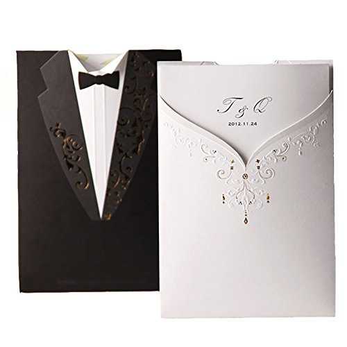 100X Wishmade Groom Bridal White and Black Laser Cut Wedding Invitations Invites Card Stock For Engagement Party Bridal Shower CW2011