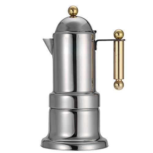 Fdit Edelstahl 4 Tassen Herd Kaffeemaschine Dauerhafte Espressokanne Silber Moka Topf mit Sicherheitsventil MEHRWEG VERPACKUNG socialme-eu