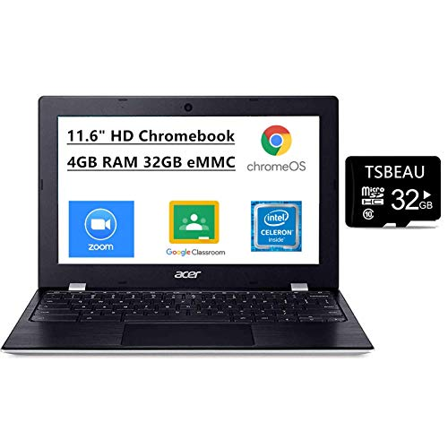 Acer Chromebook 311 11.6' HD Touchscreen, Celeron N4000, 4GB LPDDR4. 32GB eMMC, Google Chrome, Webcam, Bluetooth, Bundled with TSBEAU 32GB Micro SD Card, CB311-9HT-C4UM