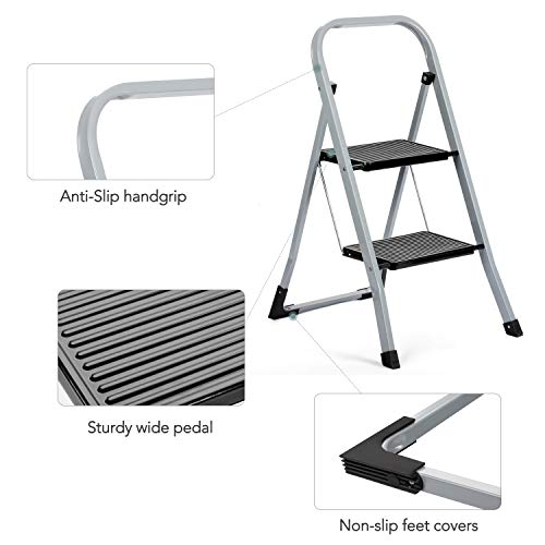 Delxo 2 Step Ladder Folding Step Stool Ladder with Handgrip Anti-Slip Sturdy and Wide Pedal Multi-Use for Household and Office Portable Step Stool Steel 300lbs Gray (2 Feet)