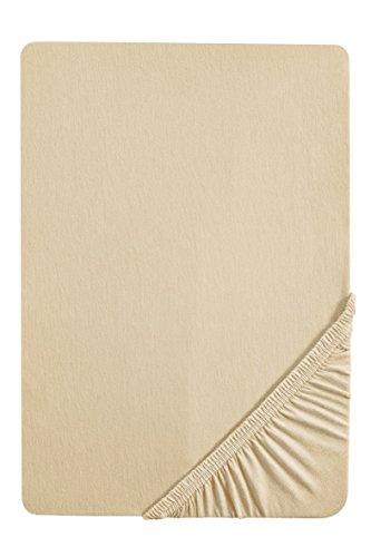 #26 biberna Jersey-Stretch Spannbettlaken, Spannbetttuch, Bettlaken, 90x190 – 100x200 cm, Kitt