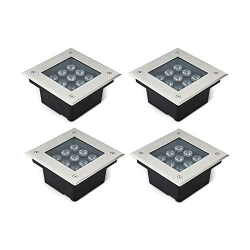 AMDHZ Plataforma LED Luces cuadradas IP67 a Prueba de Agua al Aire Libre AC85-265V Spotlight Embedded Césped Patio, 3W, 9W, 18W, 36W (Color : G, Size : 6W)