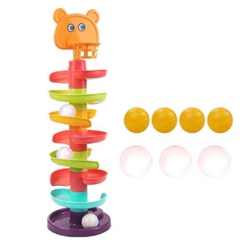 dontdo 1 Unidades de la pista de la bola de varios niveles educativos de plástico de la pista de juguetes para el cabrito Glider Puzzle de montaje de juguete 8