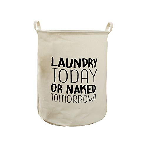 """Westeng Cesta para Lavandería Diseño """"Laundry Today or Naked Tomorrow"""" Cesto para Guardar Ropa Sucia Cubo Plegable de Lienzo Caja de Almacenamiento"""
