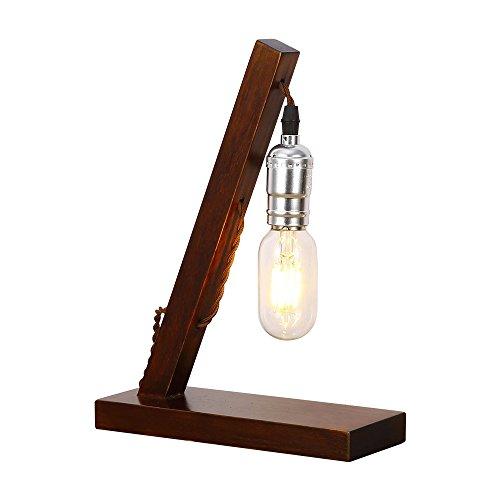 INJUICY Vintage Edison Lampada da Tavolo Legno Base Lampada da Scrivania Comodino per Ufficio Laboratorio Camera da Letto SoggiornoDecorazione (#B Legna)