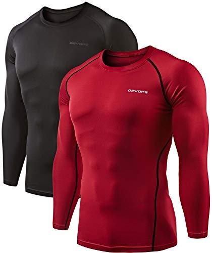 DEVOPS 2 Pack Men's Thermal Long Sleeve Compression Shirts (Medium, Black/Red)