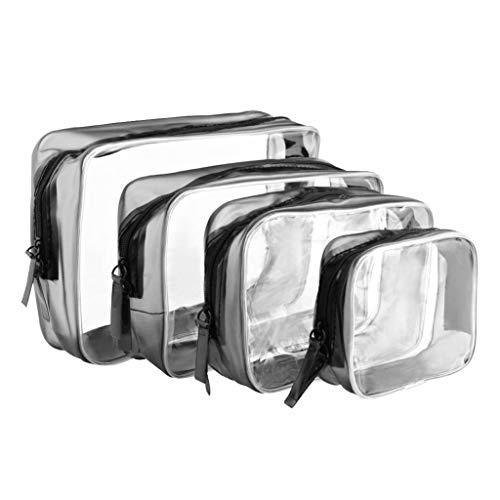 4 Pezzi Borse da Toilette Trasparente PVC Cerniera Sacchetto Impermeabile per cosmetici Trucco Portatrucchi Pochette da Toletta Organizer Quattro Dimensioni