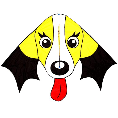ZANZAN Linda Cometa de Perro Amarillo Grande con Cuerda y Kite, fácil de Volar Cometas para Adultos y niños para la Playa de Viaje Amarillo (Color : 500M Line)