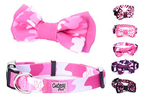 Cutesy Pet | Dog Collar with Adjustable Bow | Pink Camo | Medium | Comfortable and Strong