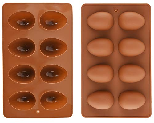 Mirenlife 8 Cavity Silicone Egg Pan Egg Tray Egg Shape Ice Tray Silicone Baking Supplies for Cake Decorating Chocolate Candy Jello Baking Pan for Muffin Bread and More Set of 2
