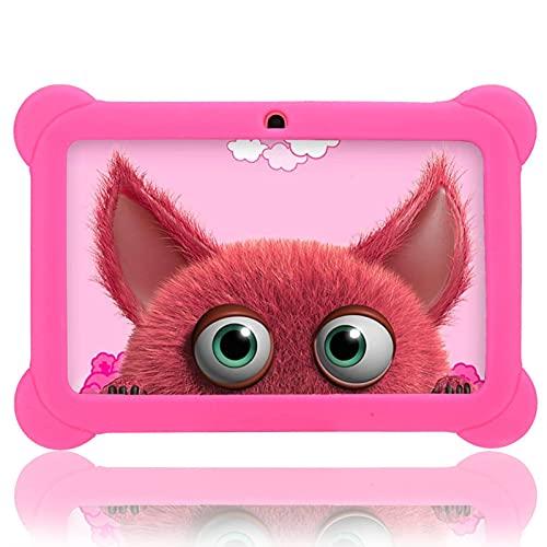 Tablet per bambini da 7 pollici, schermo di protezione per gli occhi HD 1 + Tablet PC da apprendimento 8G, doppia fotocamera, educativo, giochi, controllo genitori con custodia resistente, rosa(EU)