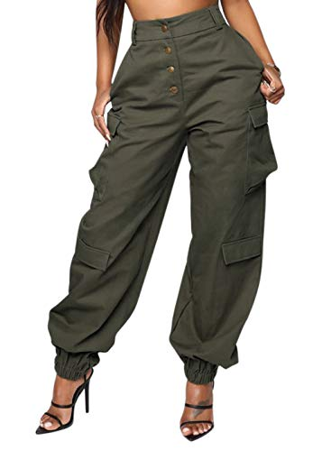 DRESSMECB Women's Casual Loose Elastic Button Down Cargo Pants Trousers with Pockets Army Green Medium