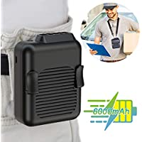 Slenpet Portable Waist Clip Fan, 6000mAh Battery Operated Necklace Fan, for Outdoor Works, Farm, Hiking, Camping