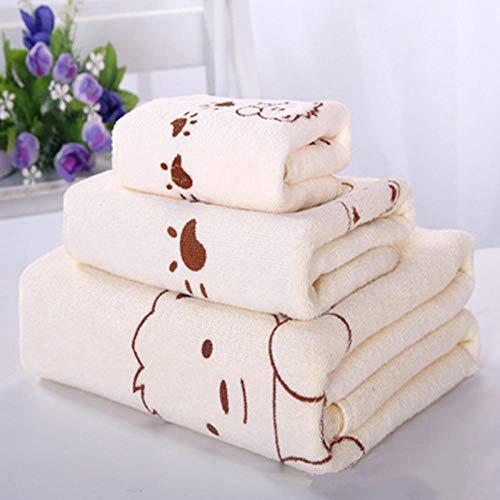 nohbi Toallas de baño 100% algodón Suave,Toalla Absorbente de Microfibra, Toalla Infantil, Toalla de Tres Piezas, Suave y sin Pelusa, Beige_S2,Comodidades 100% algodón Natural ⭐