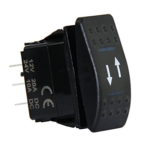 4 Pin Marine Grade ON-Off-ON/Open-Close/in-Out Momentary Rocker Switch with Blue LED Light and Etched Arrow Symbols DC 12V/20A, 24V/10A from U.S. SOLID