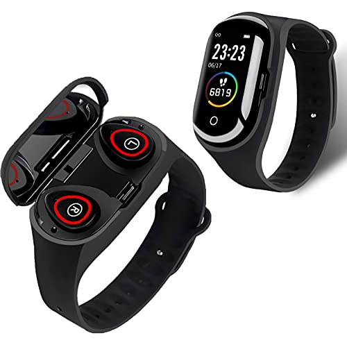 Rstar M1 PRO Bluetooth Headset Smart Bracelet Two-in-One 1.14 inch Screen Multi-Function Call Bracelet Health Monitoring Sports Bracelet Activity & Fitness Trackers (Black)