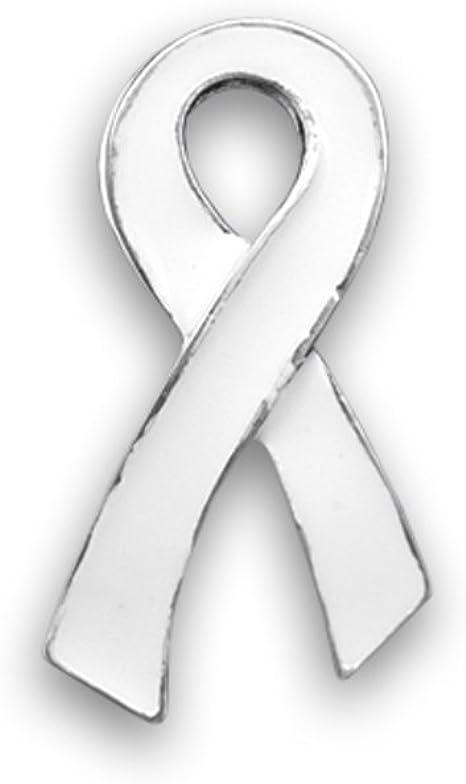 Amazon.com: Pin de lazo blanco para concienciación sobre el cáncer de pulmón  en una bolsa, grande y plano : Ropa, Zapatos y Joyería