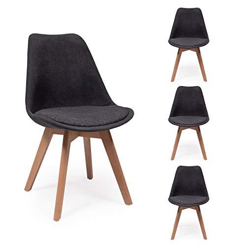 Pack de 4 sillas de Comedor New Day Tela con Asiento pespunteado diseño hexágono (Gris Oscuro)
