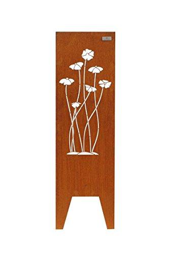 Götterfunken GmbH Seraphin   Cortenstahl Stele Blüten 150 x 50 (HxB), original Cortenstahl 2mm (Braun)