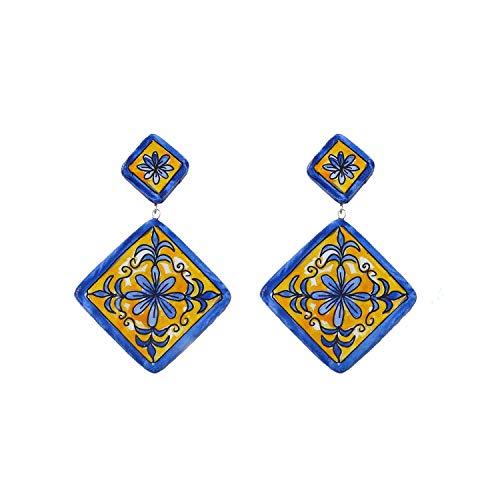Orecchini in ceramica dipinti a mano – MAIOLICA ROMBO DI VIETRI - Orecchini pendenti da donna, Gioielli in ceramica dipinta, Gancio in argento, Made in Italy, Bijoux, Lavorazione Artigianale