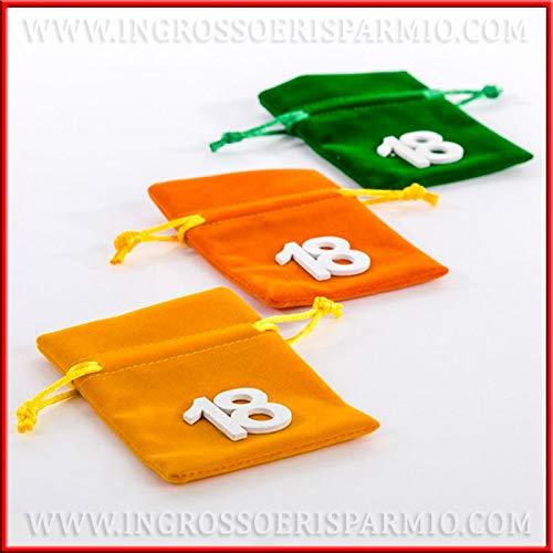 Ingrosso e Risparmio 10 Sacchettini in Velluto Porta Confetti Colorati con gessetto a Forma di Numero 18, pensierini economici diciottesimo, 18° Compleanno (Senza confezionamento)