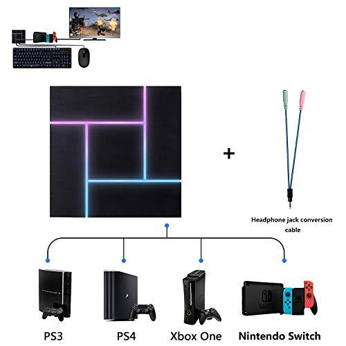 ATUTEN Tastatur und Maus Adapter, PXN-K5 LED 3.5mm Headset Jack Game Controller Konverter mit Zwei-Wege-Sprach/Anpassbaren Tasten Geeignet für PS3/PS4/XBOX ONE/Nintendo Switch
