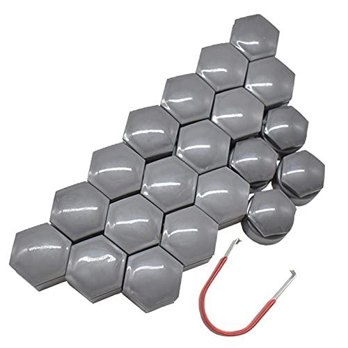Tapa de tuerca de rueda Nuevo 20 piezas gris Perno de tuerca central de rueda de coche Tapón de tornillo de neumático Cubierta a prueba de agua y polvo con herramienta de extracción 22 mm, para Holden