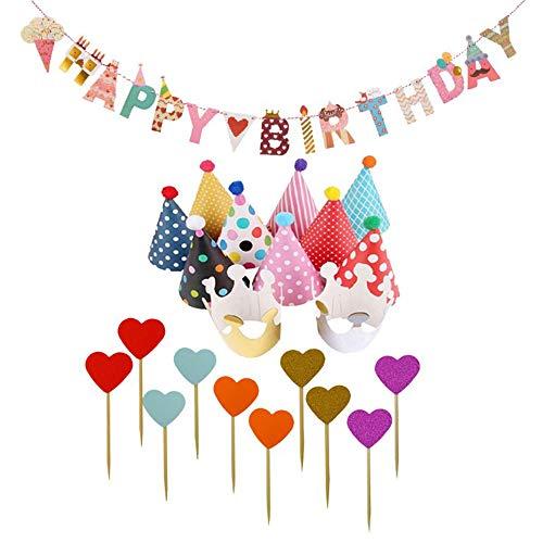 11 Piezas Sombreros de Fiesta de Cumpleaños + 10 Piezas Tarjeta Insertada para Pastel + 1 Pieza Banner de Cumpleaños,Accesorios de Fotos de Cumpleaños,Decoración de Cumpleaños para Fiesta Infantil