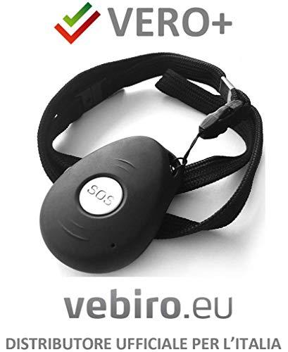 'Vero+' - dispositivo di telesoccorso con allarme manuale con tasto SOS, allarme automatico in caso di caduta, localizzazione satellitare, funziona con una normale SIM GSM anche ricaricabile senza costi fissi