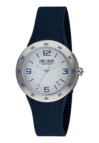 Orologio HIP HOP uomo METAL quadrante bianco e cinturino in silicone, metallo blu, movimento SOLO TEMPO - 3H QUARZO