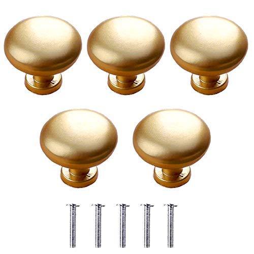 yeemeen Pomelli per Porta d'oro 5PZ Forma a Fungo 30mm Pomelli per Mobili per Armadi e Cassetti Manopole Pomello Cabinet Tondo Maniglie per Mobili da Cucina per Porta Armadio Cassetto e Credenza