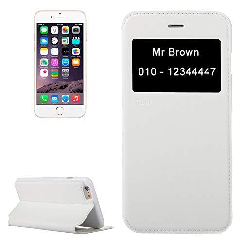 Wckxy Funda telefónica for iPhone 6 Plus Roar Crazy Horse Texture Funda de Cuero con Soporte y Ranura for Tarjeta y Pantalla de identificación de Llamadas (Color : White)