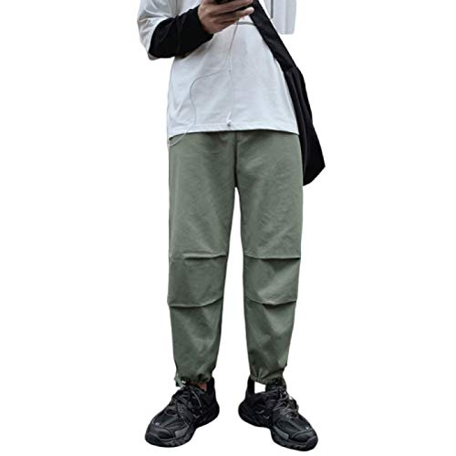 Pantalones Cargo para Hombre Color sólido Cintura elástica Pies en viga Casual Simple Suelto Cómodo Pantalones básicos de Talla Grande M