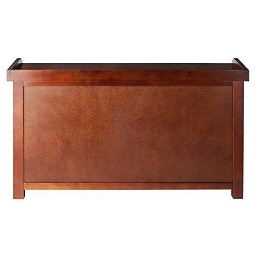 Product Image 3: Winsome Wood MilanWood Storage Bench in Antique Walnut Finish with Storage Shelf and 3 Rattan Baskets in Antique Walnut Finish