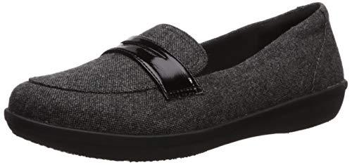 Clarks Women's Ayla Form Penny Loafer, Black Tweed Textile, 110 M US
