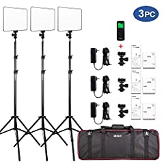 Kit Has: (3) Bi-color LED Video Light, (3) Power Adapter, (3) Power Cable, (3) 26inches-75inches Adjustable Light Stand; (3) Hot Shoe Adapter; (1) Wireless Remote Control; (1) Carry bag. Note: No Battery Included. Bi-color Dimmable LED Video Light: 9...