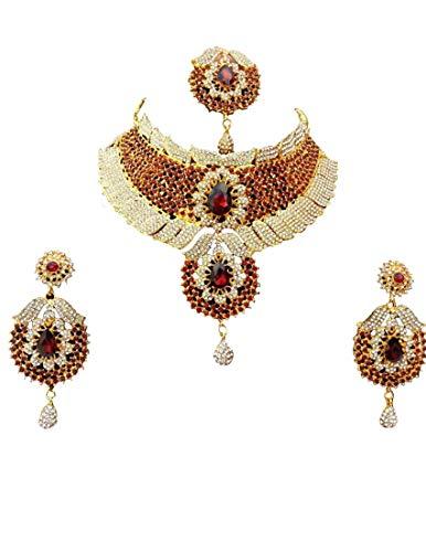 Finekraft Bollywood-Hochzeits-Designer-Halsketten-Set mit kubischem Zirkonia, vergoldet