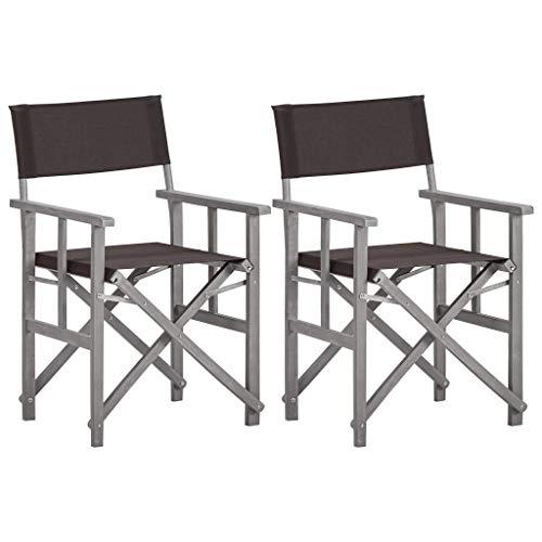 YUDIAN Sillas de Director 2 Piezas, sillas de Camping Plegables Asiento al Aire Libre en el Camping, Playa, Campo Deportivo Madera Maciza de Acacia