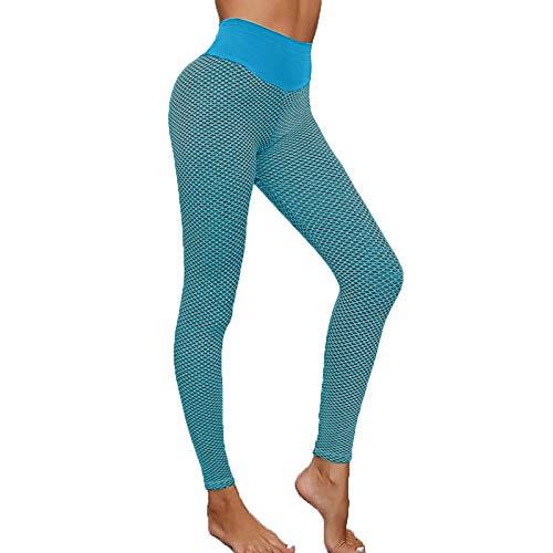 WOBANG Damen Scrunch Butt Leggings Slim FitHoneycomb Yogahose Hohe Taille Sportshort Lange Legging mit Bauchkontrolle Sporthose Booty Lifting Fitness Hose Push-Up Stretch Workout Fitness Jogginghose