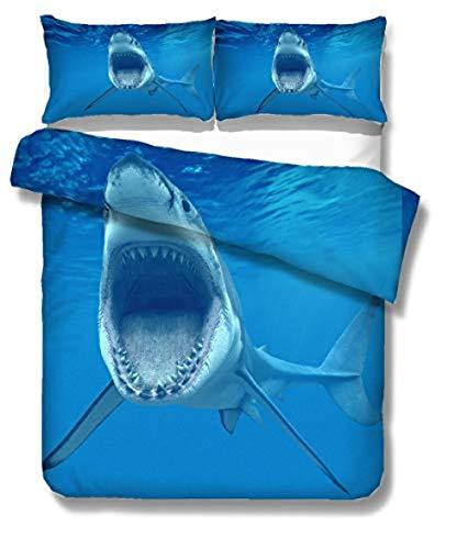 Juego De Ropa De Cama 3 Piezas Tiburón De Aguas Profundas Impresión 3D, Funda De Edredón 2 Fundas De Almohada,Microfibra Ultrasuave 240Cmx260Cm