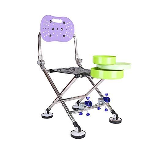 ch-AIR Chaise De Pêche Pliante Multifonctionnelle pour Engins De Pêche avec Tabouret De Pêche pour Chaise De Pêche Portable (Color : Purple)