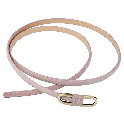 Aodexius Damen Super Schmal Poppig Jeans Kleid Belt Gürtel Mit Bronze Schnalle (Pink)
