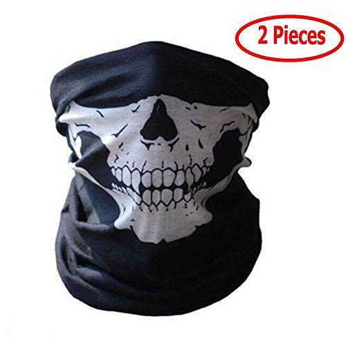 Máscara de tela con dibujo de calavera, para moto, deporte, esquí, ciclismo, Halloween (2unidades)