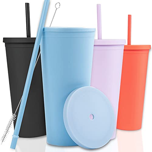 Tumblers with Lids (4 pack) 22oz Pastel Colored Acrylic Cups with Lids and Straws | Double Wall Matte Plastic Bulk Tumblers With FREE Straw Cleaner! Vinyl Customizable DIY Gifts (Pastels)