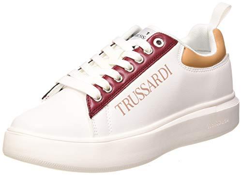 Trussardi Jeans YRIAS PU/Logo Print, Scarpe da Ginnastica Donna, White/Tan/Bouganville/Pink, 42 EU