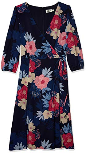 Eliza J Women's Printed MIDI WRAP Dress, Navy, 16