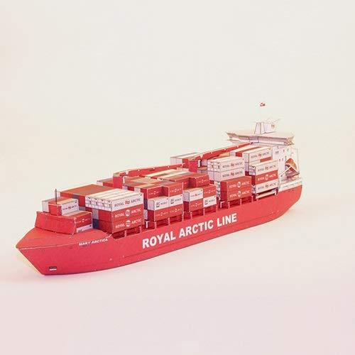 ELVVT 1: 400 Dänische Mary Arctica Containerschiff Papiermodelle Modell 3D Hohe Schwierigkeit handgemachte Origami Modell DIY Puzzle Montage Spielzeug militärische Fans Kind Erwachsene Geburtstag Deko