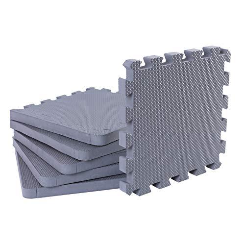 BodenMax CRS-PL5810GRTC-12 Tapete colchoneta Protectora de Espuma para Gimnasio Yoga o habitacion de niños 58x58x1 cm 12 Piezas de Color Gris